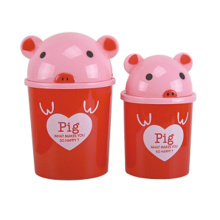 Red Pig Design Plastic Flip-on Waste Bin (A11-5802)